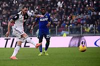 Leonardo Bonucci of Juventus scores the goal of 1-0 <br /> Torino 1-12-2019 Juventus Stadium <br /> Football Serie A 2019/2020 <br /> Juventus FC - US Sassuolo 2-2 <br /> Photo Federico Tardito / Insidefoto
