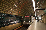 A subway car arrives at the Jiriho Z Podebrad Metro station in Prague, Czech Republic, Europe