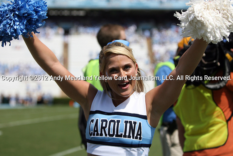 01 September 2012: UNC cheerleader. The University of North Carolina Tar Heels played the Elon University Phoenix at Kenan Memorial Stadium in Chapel Hill, North Carolina in a 2012 NCAA Division I Football game.
