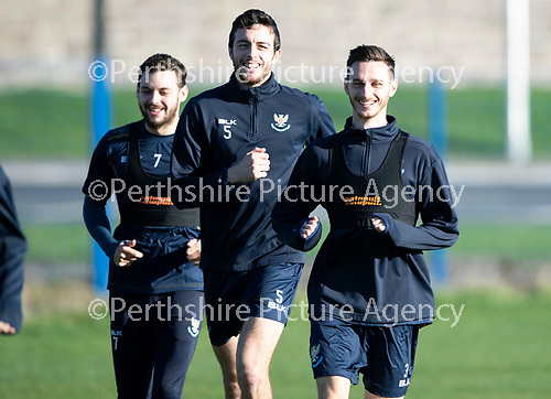 St Johnstone Training….  McDiarmid Park…26.10.18<br />Scott Tanser pictured all smiles with Joe Shaughnessy and Drey Wright during training this morning ahead of tomorrow's game against St Mirren.<br />Picture by Graeme Hart.<br />Copyright Perthshire Picture Agency<br />Tel: 01738 623350  Mobile: 07990 594431
