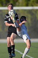 Oct 29, 2014; Orange, CA, USA; Occidental College Tigers defender Keegan McChesney (6) against the Chapman College Panthers. Photo by Kirby Lee