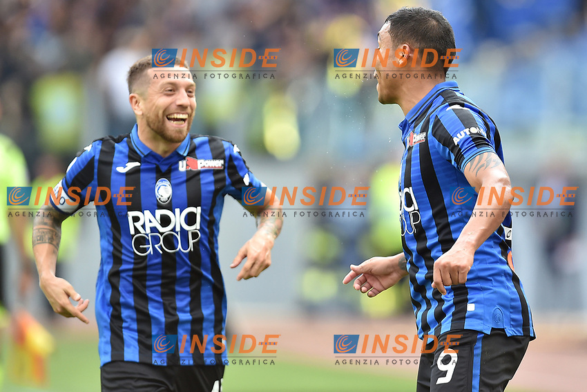 Luis Muriel of Atalanta BC (R) celebrates after scoring the goal of 0-2 with Alejandro Papu Gomez <br /> Roma 19-10-2019 Stadio Olimpico <br /> Football Serie A 2019/2020 <br /> SS Lazio - Atalanta<br /> Foto Andrea Staccioli / Insidefoto