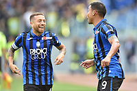 Luis Muriel of Atalanta BC (R) celebrates after scoring the goal of 0-2 with Alejandro Papu Gomez <br /> Roma 19-10-2019 Stadio Olimpico <br /> Football Serie A 2019/2020 <br /> SS Lazio - Atalanta<br /> Foto Andrea Staccioli / Insidefoto