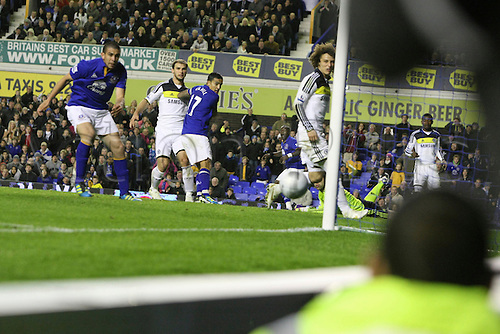 26.10.2011. Liverpool, England. Ball goes close for Everton in the Carling Cup match between Everton and Chelsea at Goodison Park. Mandatory Credit ActionPlus.