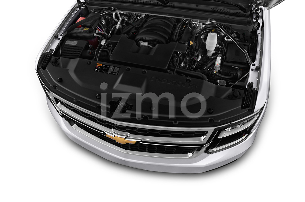 Car stock 2019 Chevrolet Tahoe LS 5 Door SUV engine high angle detail view