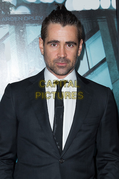Colin Farrell.The premiere of FilmDistricts's 'Dead Man Down' at ArcLight Hollywood, Hollywood, California, USA..February 26th, 2013.half length black suit white shirt stubble facial hair headshot portrait tie.CAP/ADM/JS.©John Salangsang/AdMedia/Capital Pictures.