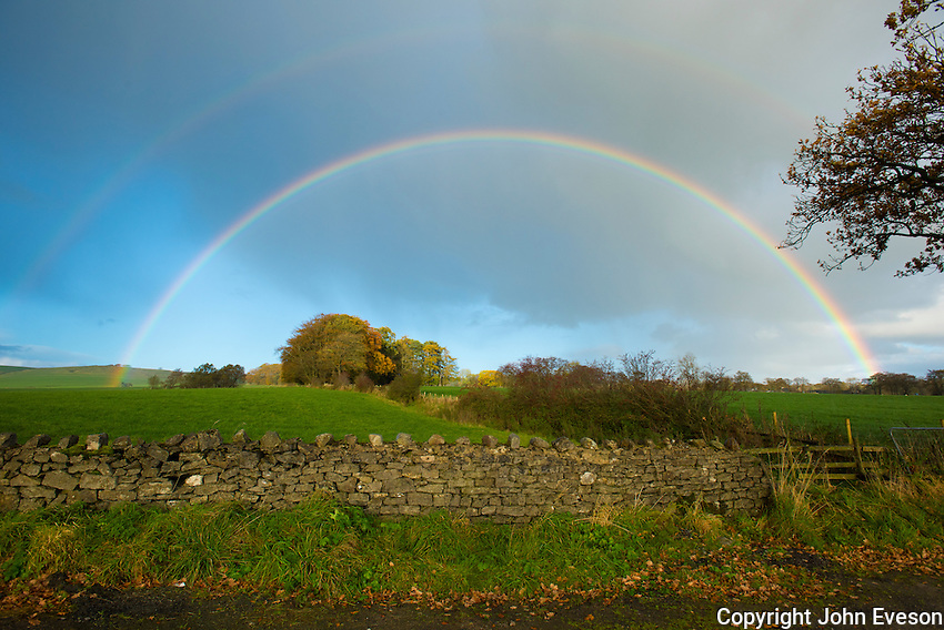 Double rainbow at  Whitewell, Clitheroe, Lancashire.