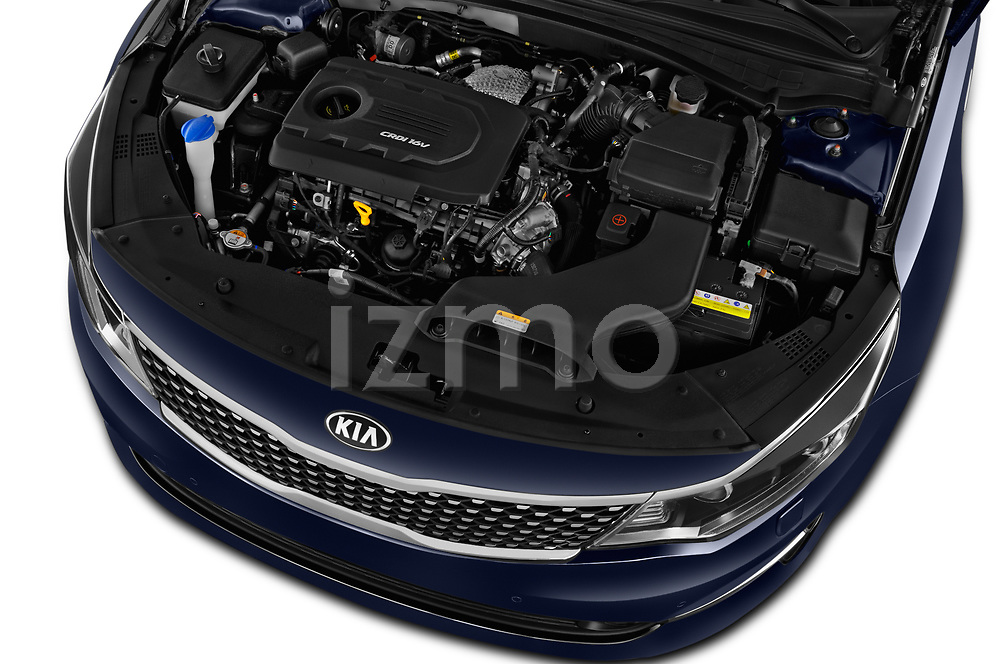 Car Stock 2017 KIA Optima-Sportswagon Fusion 5 Door Wagon Engine  high angle detail view