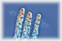 A photo art view of the Snowbirds at the Canadian International Airshow in Toronto.