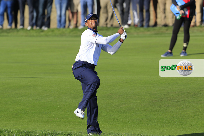 Tiger Woods (Team USA) plays his 2nd shot on the 13th hole during Saturday's Foursomes Matches at the 2018 Ryder Cup 2018, Le Golf National, Ile-de-France, France. 29/09/2018.<br /> Picture Eoin Clarke / Golffile.ie<br /> <br /> All photo usage must carry mandatory copyright credit (© Golffile | Eoin Clarke)