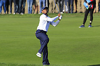 Tiger Woods (Team USA) plays his 2nd shot on the 13th hole during Saturday's Foursomes Matches at the 2018 Ryder Cup 2018, Le Golf National, Ile-de-France, France. 29/09/2018.<br /> Picture Eoin Clarke / Golffile.ie<br /> <br /> All photo usage must carry mandatory copyright credit (&copy; Golffile | Eoin Clarke)