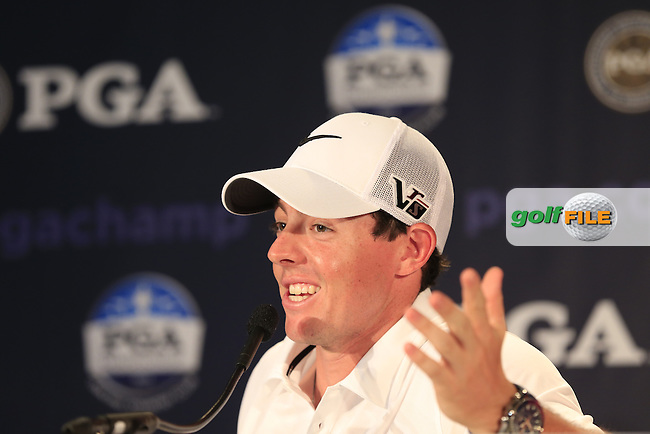 Rory McIlroy (NIR) in the interview room during Wednesday's Practice Day of the 95th US PGA Championship 2013 held at Oak Hills Country Club, Rochester, New York.<br /> 7th August 2013.<br /> Picture: Eoin Clarke www.golffile.ie