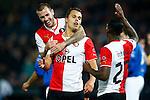 Nederland, Rotterdam, 30 oktober 2013<br /> KNVB Beker<br /> Seizoen 2013-2014<br /> Feyenoord-HSV Hoek<br /> Mitchell Te Vrede (2e van r.) van Feyenoord viert zijn doelpunt, de 3-0, met John Goossens (l.) en Ruben Schaken (r.) van Feyenoord