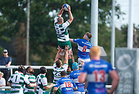 Harry Casson of Ealing Trailfinders wins the line out during the 2019/20 Pre Season Friendly match between Ealing Trailfinders and Bishop's Stortford at Castle Bar , West Ealing , England  on 24 August 2019. Photo by Alan  Stanford / PRiME Media images
