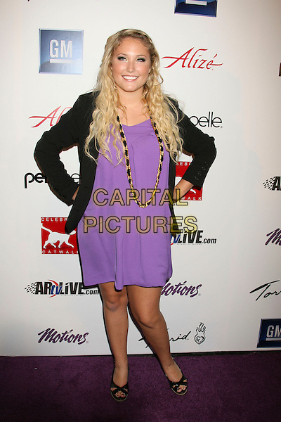 HAYLEY AMBER HASSELHOFF.Celebrity Catwalk For Charity - Arrivals held at The Highlands, Hollywood, California,.16 August 2007..full length black jacket purple dress gold necklace hands on hips.CAP/ADM/RE.©Russ Elliot/AdMedia/Capital Pictures.