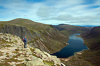 Cairn Gorm, Loch Avon and the Loch Avon Basin from Shelter Stone Crag, Cairngorm National Park, Badenoch and Speyside, Highland