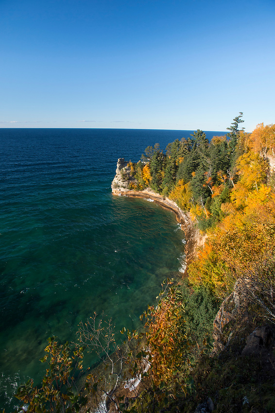 Fall color at Miners Castle in Pictured Rocks National Lakeshore on Michigan's Upper Peninsula.