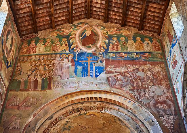 Romanesque interior with 14th century Frescoes of the Last Judgement attributed to Gregory and Donato D'Arezzo , Basilica Church of Santa Maria Maggiore, Tuscania