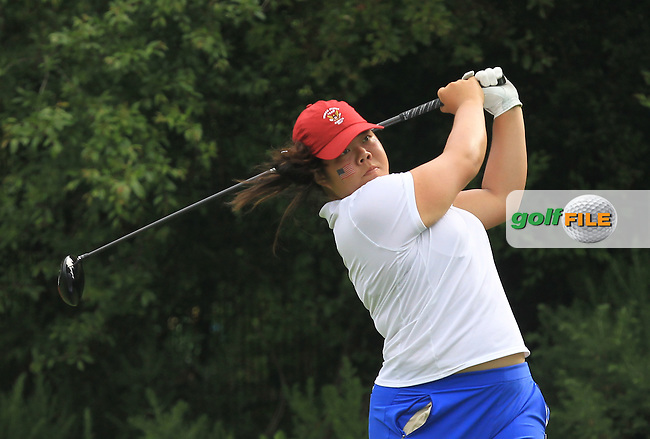 Bethany Wu on the 9th tee during the Saturday Mourning Foursomes of the 2016 Curtis Cup at Dun Laoghaire Golf Club on Saturday 11th June 2016.<br /> Picture:  Golffile | Thos Caffrey