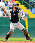 3 July 2011: Tri-City ValleyCats catcher Miles Hamblin in action against the Vermont Lake Monsters at Centennial Field in Burlington, Vermont. The Lake Monsters rallied from a 6-3 deficit, scoring 4 runs in the bottom of the 9th, to defeat the ValletCats 7-6 in NY Penn League action. Mandatory Credit: Ed Wolfstein Photo
