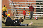 10 November 2007: NC State's Christopher Widman makes a save, but serves up a rebound that resulted in a Duke goal. The Duke University Blue Devils defeated the North Carolina State University Wolfpack 2-0 at Method Road Soccer Stadium in Raleigh, North Carolina in an Atlantic Coast Conference NCAA Division I Men's Soccer game.