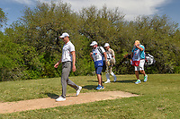 Martin Kaymer (GER) and Austin Cook (USA) head down 9 during Round 1 of the Valero Texas Open, AT&amp;T Oaks Course, TPC San Antonio, San Antonio, Texas, USA. 4/19/2018.<br /> Picture: Golffile | Ken Murray<br /> <br /> <br /> All photo usage must carry mandatory copyright credit (&copy; Golffile | Ken Murray)