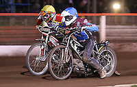 Heat 8: Stuart Robson (blue) and Morten Risager (yellow) - Lakeside Hammers vs Swindon Robins, Elite League Speedway at the Arena Essex Raceway, Purfleet - 03/09/10 - MANDATORY CREDIT: Rob Newell/TGSPHOTO - Self billing applies where appropriate - 0845 094 6026 - contact@tgsphoto.co.uk - NO UNPAID USE.