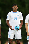 24 September 2013: North Carolina's Omar Holness (JAM). The University of North Carolina Tar Heels hosted the College of William and Mary Tribe at Fetzer Field in Chapel Hill, NC in a 2013 NCAA Division I Men's Soccer match. William and Mary won the game 1-0.