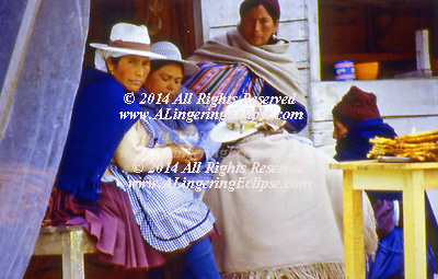 These ladies are preparing lunch for the buses which arrive on their journey across the top of the Andes Mountains.