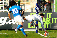 Photo: Omega/Richard Lane Photography. Italy v England. RBBS Six Nations. 10/02/2008. England's Toby Flood dives in for a try.