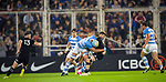 September 29, 2018. Jose Amalfitani, Buenos Aires, Argentina. Argentine second row Tomas Lavanini sacks TJ Perenara during the first half of the match.
