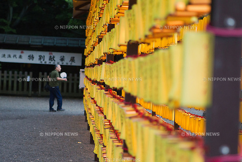 July 14, 2012 - Tokyo, Japan - A row of lanterns are displayed during the annual Mitama festival at Yasukuni Shrine. There are over 30,000 lanterns beautifully lit to comfort the souls of the dead during the four-day long festival where more than 2.4 million war dead are enshrined. (Photo by Christopher Jue/AFLO)