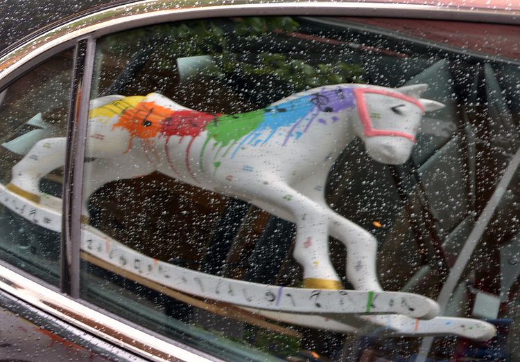 """A view of """"Splash of Music"""" created by artist, Anastasia LaPeruta, one of the """"Rockin' Around Saugerties"""" theme Statues on display throughout the Village of Saugerties, NY, on Sunday, June 4, 2017. Photo by Jim Peppler. Copyright/Jim Peppler-2017."""