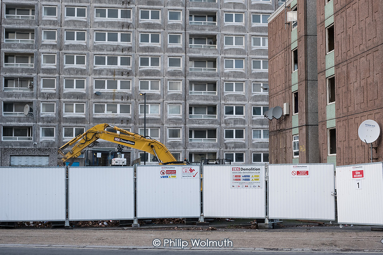Demolition of Gloucester House and Durham Court blocks in Phase 2b of Brent Council's South Kilburn Estate regeneration scheme.