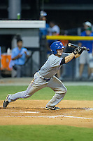 Ridge Smith (4) of the Bluefield Blue Jays attempts to lay down a bunt during the game against the Burlington Royals at Burlington Athletic Stadium on June 27, 2016 in Burlington, North Carolina.  The Royals defeated the Blue Jays 9-4.  (Brian Westerholt/Four Seam Images)
