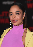 "LOS ANGELES- DECEMBER 9:   Tessa Thompson at the World Premiere of Disney Pictures and Lucasfilm's ""Star Wars: The Last Jedi"" at the Shrine Auditorium on December 9, 2017 in Los Angeles, California. (Photo by Scott Kirkland/PictureGroup)"