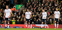 The Bolton Wanderers players look dejected as they go 2-0 behind<br /> <br /> Photographer David Shipman/CameraSport<br /> <br /> The EFL Sky Bet Championship - Norwich City v Bolton Wanderers - Saturday 8th December 2018 - Carrow Road - Norwich<br /> <br /> World Copyright &copy; 2018 CameraSport. All rights reserved. 43 Linden Ave. Countesthorpe. Leicester. England. LE8 5PG - Tel: +44 (0) 116 277 4147 - admin@camerasport.com - www.camerasport.com