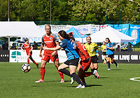 Kansas City, MO - Saturday May 13, 2017:  Christina Gibbons, Hayley Raso, during a regular season National Women's Soccer League (NWSL) match between FC Kansas City and the Portland Thorns FC at Children's Mercy Victory Field.