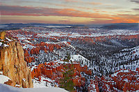 A horizontal photo of sunrise at Bryce Canyon National Park.