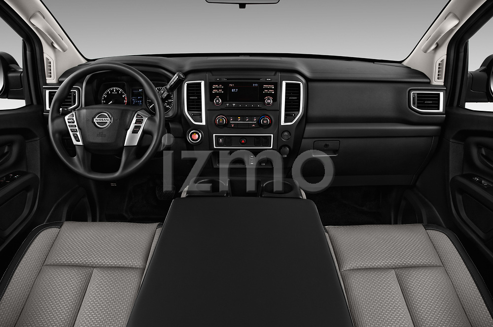 Stock photo of straight dashboard view of 2017 Nissan Titan S-Single 2 Door Pick-up Dashboard