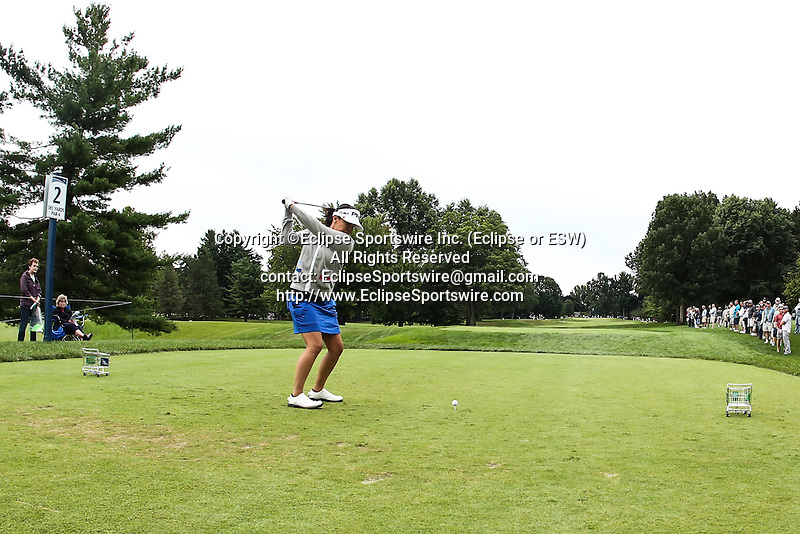 Jane Park tees off on the 2nd tee at the LPGA Championship 2014 Sponsored By Wegmans at Monroe Golf Club in Pittsford, New York on August 16, 2014