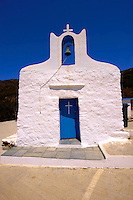 One of the 365 traditional white Orthodox chaples on Ios, Cylades Islands, Greece