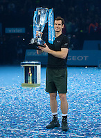 World Number One Andy Murray with the ATP World Tour Final Trophy, ATP World Tour Finals 2016, Day Eight, O2 Arena, Peninsula Square, London, United Kingdom, 20th Nov 2016