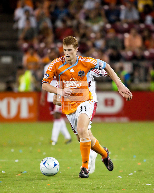 Houston Dynamo defender Andrew Hainault (31) dribbles the ball.  Houston Dynamo defeated Chicago Fire 3-2  at Robertson Stadium in Houston, TX on August 9, 2009.