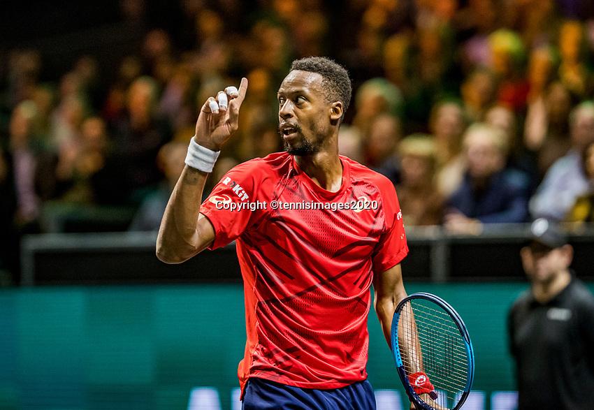 Rotterdam, The Netherlands, 16 Februari 2020, ABNAMRO World Tennis Tournament, Ahoy,<br /> Mens Single Final: Gaël Monfils (FRA) requests a challenge<br /> Photo: www.tennisimages.com