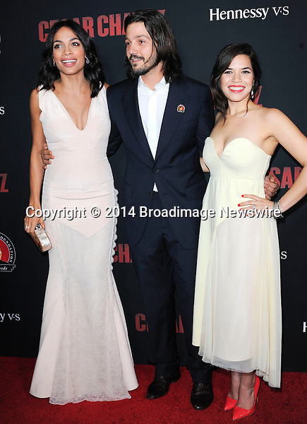 Pictured: Rosario Dawson, Diego Luna, America Ferrera<br /> Mandatory Credit &copy; Adhemar Sburlati/Broadimage<br /> Film Premiere of Cesar Chavez<br /> <br /> 3/20/14, Hollywood, California, United States of America<br /> <br /> Broadimage Newswire<br /> Los Angeles 1+  (310) 301-1027<br /> New York      1+  (646) 827-9134<br /> sales@broadimage.com<br /> http://www.broadimage.com