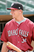 Hunter Dozier #34  of the Idaho Falls Chukars prior to the game against the Ogden Raptors at Lindquist Field on June 23, 2013 in Ogden, Utah. (Stephen Smith/Four Seam Images)