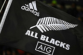 9th September 2017, Yarrow Stadium, New Plymouth. New Zealand; Supersport Rugby Championship, New Zealand versus Argentina; All Blacks supporters flag