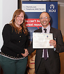 22/07/2015 GP Trainee Awards and Michael Lennard Reception 2015 hosted at The Holiday Inn, Filton, Bristol, by MDU.  Dr Carly Lawrence (Bristol patch) receives her certificate from Dr Ray Montague, chairman of Brisdoc.