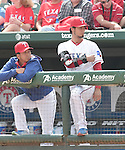 (L-R) Kyuji Fujikawa, Yu Darvish (Rangers),<br /> APRIL 10, 2015 - MLB :<br /> Kyuji Fujikawa and Yu Darvish of the Texas Rangers watch from the dugout during the Major League Baseball game against the Houston Astros at Globe Life Park in Arlington in Arlington, Texas, United States. (Photo by AFLO)
